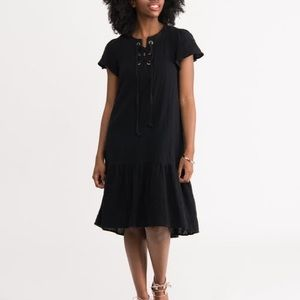 Black linen drop waist dress